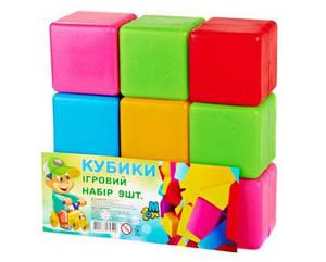 Кубики цветные 9 шт БОЛЬШИЕ, арт. 14066, УКРАИНА