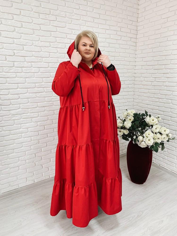 Женский элегантный плащ макси Фантазия / размер 42-70 / цвет красный