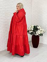 Женский элегантный плащ макси Фантазия / размер 42-70 / цвет красный, фото 3