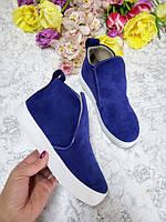 Синие слипоны ботинки для девочки подростка 32-41 размер, производство обуви в Харькове