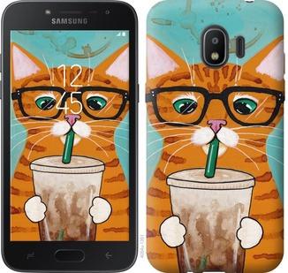 """Чехол на Samsung Galaxy J2 2018 Зеленоглазый кот в очках """"4054c-1351-19380"""""""