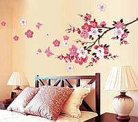 """Наклейка на стену """"Ветка сакуры и бабочки"""", цвет розовый"""