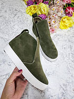 Подростковые слипоны ботинки кроссовки демисезонные цвет хаки 32-41 размер, производство обуви в Харькове