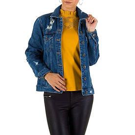 Рваная джинсовая куртка с вышивкой на спине Naumy Jeans (Италия), Синий