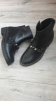 Женские кожаные ботинки с цепочкой р36-40.