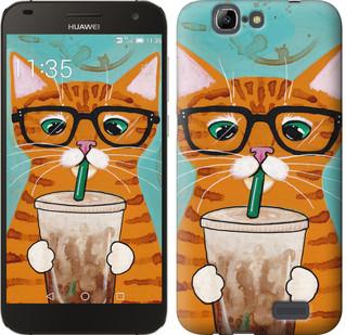 """Чехол на Huawei Ascend G7 Зеленоглазый кот в очках """"4054u-147-19380"""""""