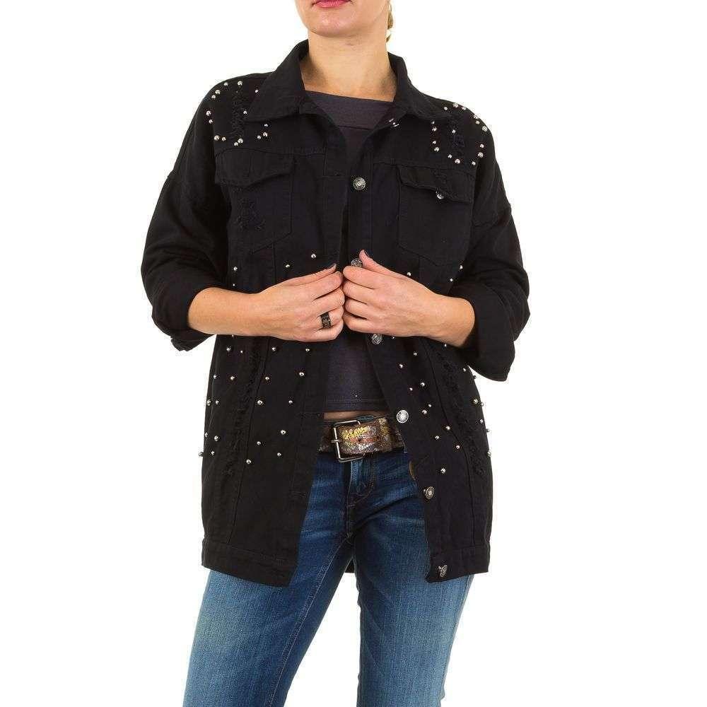 Черная рваная джинсовая куртка длинная с бусинами Noemi Kent Paris (Франция) Черный