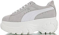 """Женские кроссовки Puma x Buffalo London Suede Platform """"White"""" (Пума Буффало) в стиле серые на платформе"""