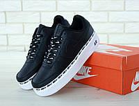 Кеды мужские Nike Air Force кожаные стильные модные черные с белой подошвой, ТОП-реплика