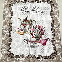 Готовое вафельное полотенце с чайником и чашками, 45х59 см, фото 1