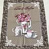 Готове вафельний рушник з чайником і чашками на кавовому фоні, 45х59 см