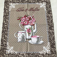 Готове вафельний рушник з чайником і чашками на кавовому фоні, 45х59 см, фото 1