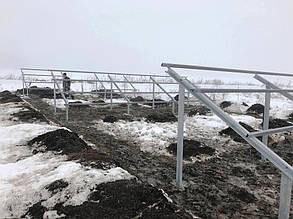 Смонтированные и укрепленные фермы до установки солнечных панелей.
