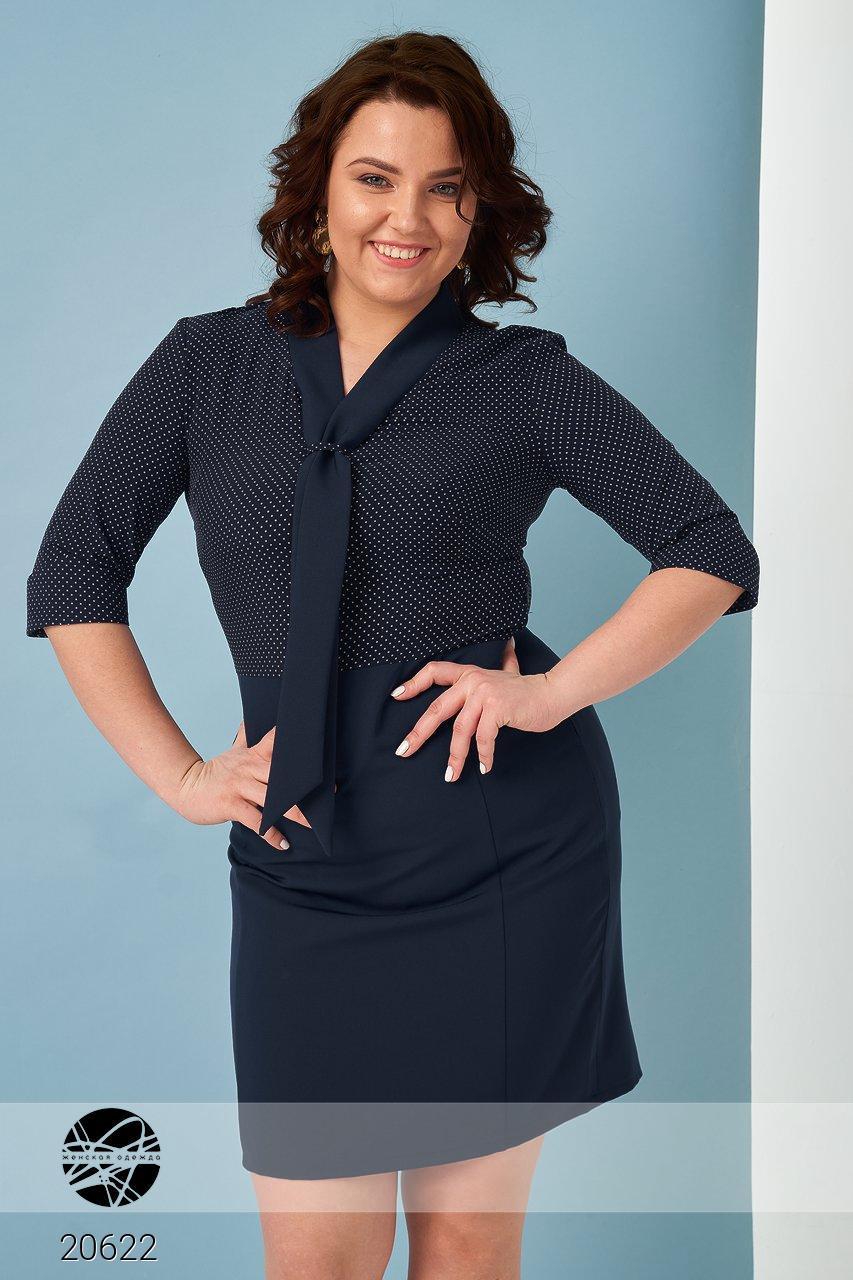 bc52a301a64 Облегающее офисное платье синего цвета. Модель 20622. Размеры 48-54 - Irse в