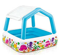 Детский надувной бассейн Intex 57470 «Аквариум» со съемным навесом, 157 х 157 х 122 см.