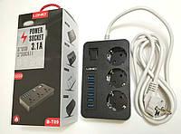 Usb хаб Сетевой Фильтр LDNIO В-Т09 на 3 Розетки + 6 USB