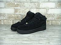 Мужские кроссовки Nike Air Force стильные из замши повседневные высокие на липучке (черные), ТОП-реплика, фото 1