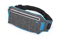 Ремінь-сумка спортивний (поясний) для бігу і велопрогулянки, поліестер, синій (10500A-(bl))