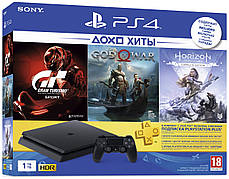 Игровая консоль SONY PlayStation 4 Slim 1Tb Black (CUH-2208B) HZD + GTS + GOW + PSPlus 3М