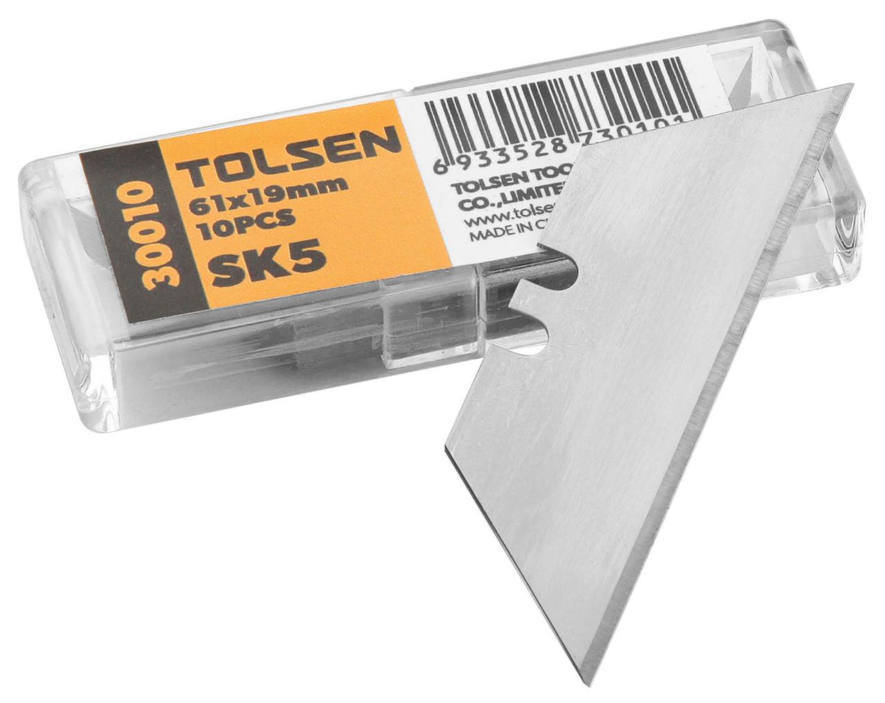 Лезвия трапеция Tolsen Профи 61х19х0.6мм SK5 10шт (30010)