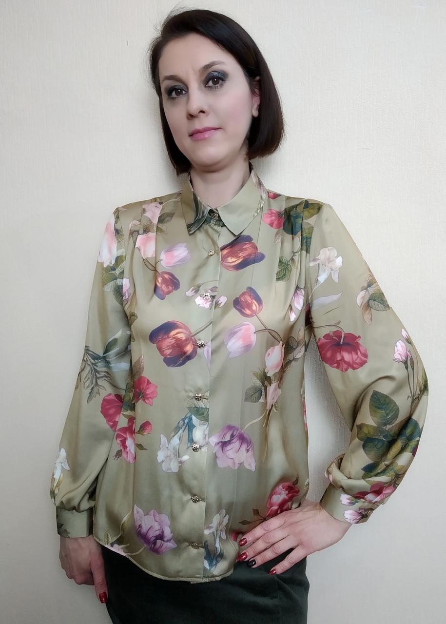 Шелковая женская блузка с рубашечным воротником Бл05