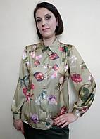 Шелковая женская блузка с рубашечным воротником Бл05, фото 1