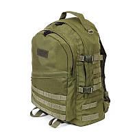 Тактический походный крепкий рюкзак с оргонайзером 40 литров олива, фото 1