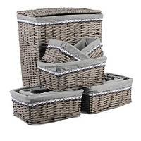 Комплект корзин для белья серого цвета с тканевым вложением 10 шт. 5316