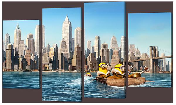 Модульная картина Interno Эко кожа  Миньоны в Нью-Йорке 126x77см (A853L)