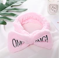 Повязка на голову косметологическая бледно-розовая OMG