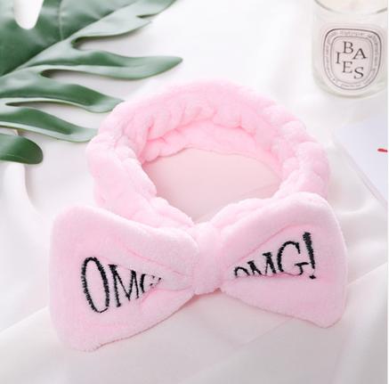 Повязка на голову косметологическая бледно-розовая OMG, фото 2
