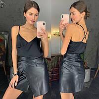 Юбка женская стильная мини из эко кожи имитация запаха и кармана разные цвета Uld144