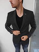 Пиджак мужской классический серого цвета трикотажный с лайкрой на 1 пуговице