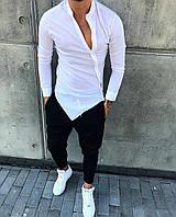 Рубашка нарядная мужская белого цвета косуха с воротником стойка