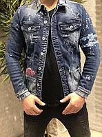 Пиджак мужской джинсовый стильный с розой серый