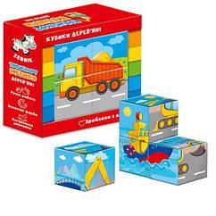 Деревянные кубики. Транспорт ZB1001-03 (укр)
