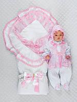 """Набір """"Марія"""", білий з рожевим, демісезонний, фото 1"""