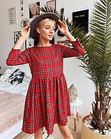 Платье женское стильное свободный крой в клетку до колена Sml3004, фото 1