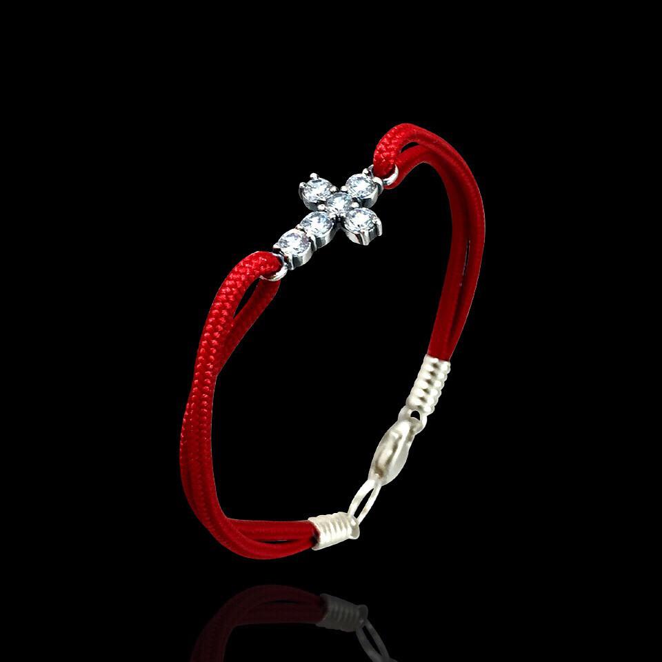 Тканевый шнуровой браслет с серебряным крестиком, 170мм