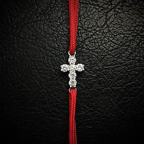 Тканевый шнуровой браслет с серебряным крестиком, 170мм, фото 2
