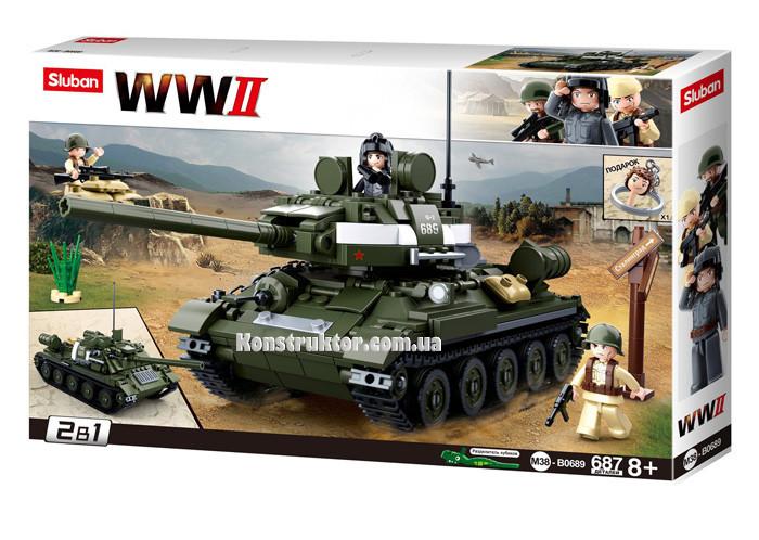 """Конструктор Sluban M38-B0689 """"Танк 2 в 1"""" из серии """"Армия"""" 687 деталей"""