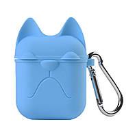 Чехол для AirPods силиконовый Кошка 2 в 1 (+карабин) Голубой