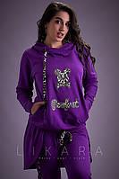 Женский трикотажный спортивный костюм с ассиметричной кофтой и капюшоном 50, 52, 54, 56, 58, 60, 62