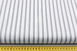 """Ткань хлопковая шириной 220 см """"Полоска 6 мм"""" тёмно-серая на белом, фото 2"""