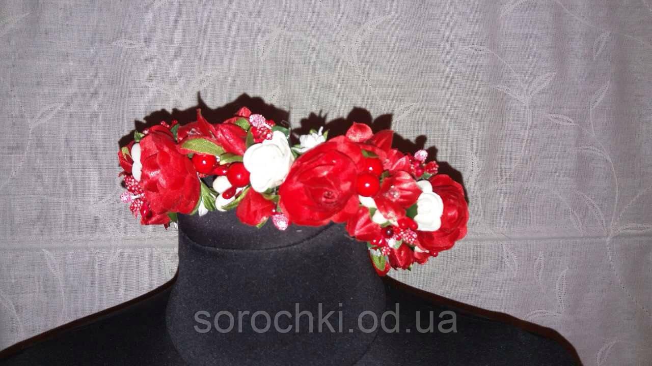 Обруч , женский для волос , калина и цветы