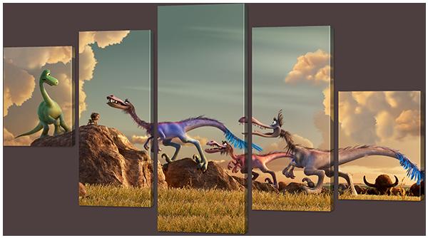 Модульная картина Interno Холст Приключения Динозавра 123х69см (R856M)