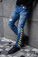 Модные мужские джинсы зауженные с потертостями Black Island Jeans