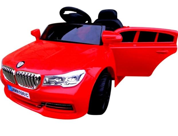Электромобиль детский B4 с пультом управления, колесами EVA и мягким сидением красный