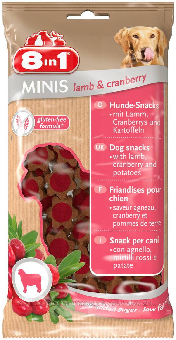 """Лакомства с ягненком и клюквой для собак """"Minis Lamb & Cranberry"""" (100г), 8in1"""