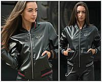 Женская кожаная куртка-бомбер 18121, фото 1